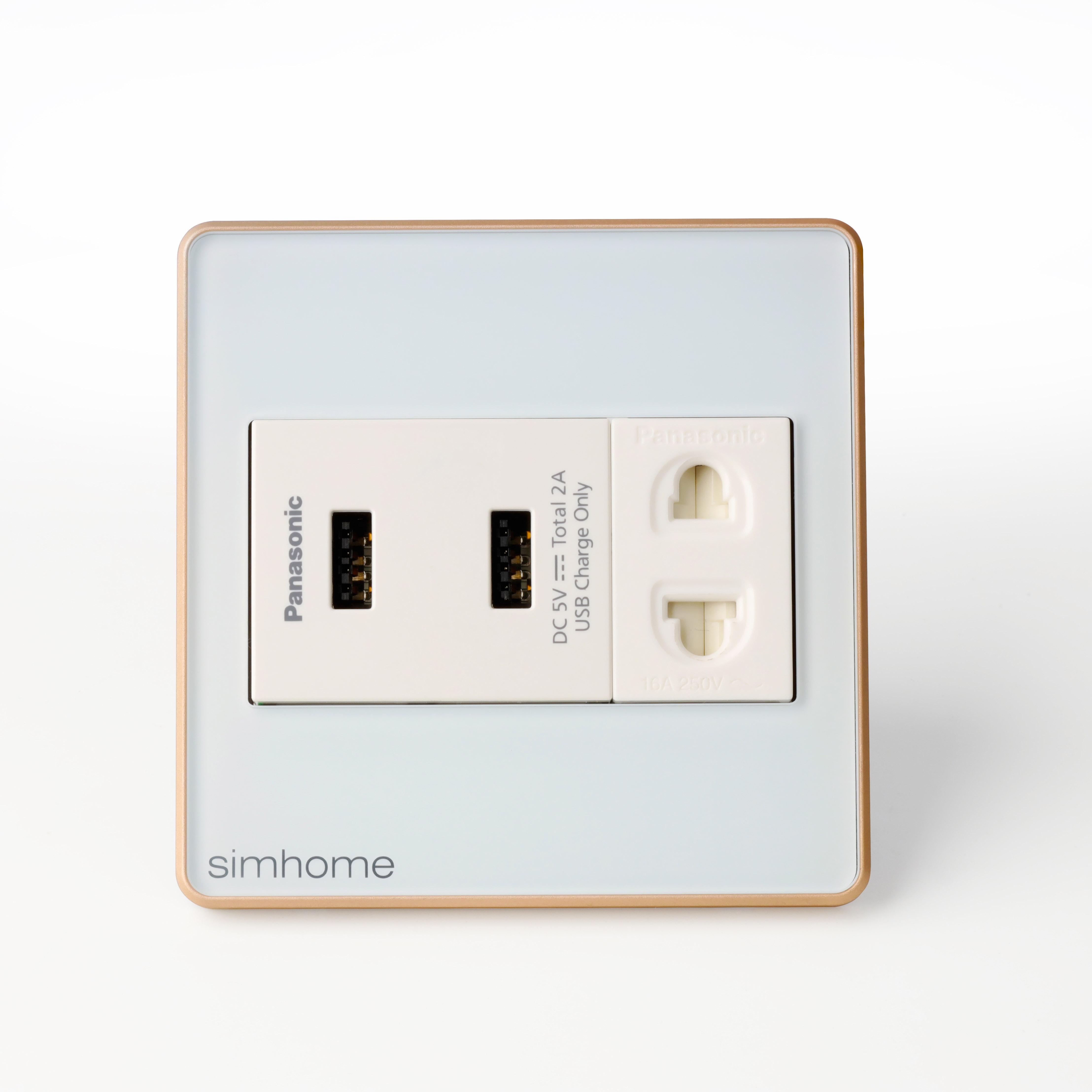 Ổ Cắm Cao Cấp SimHome W1 Mặt Vuông - 2 USB - AC
