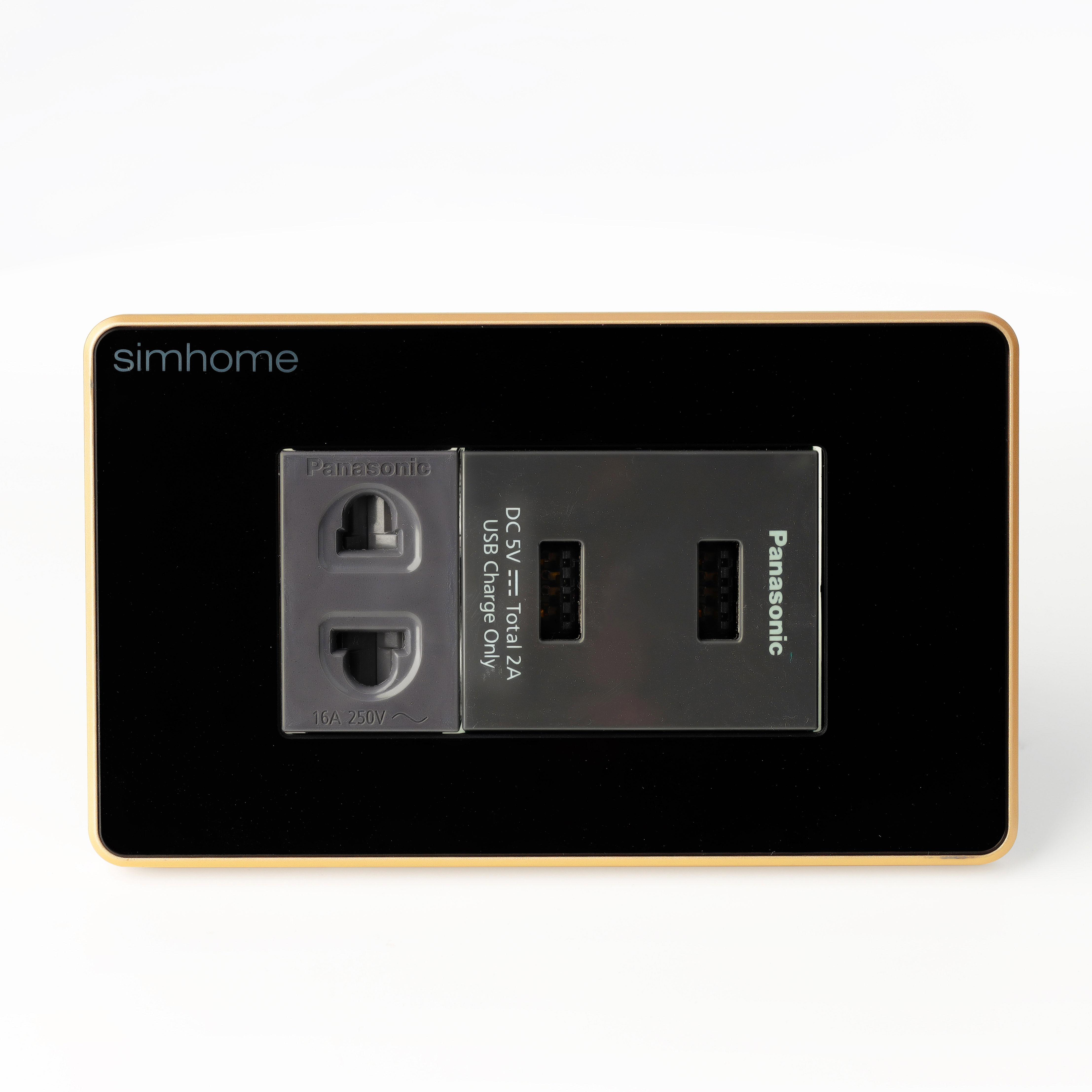 Ổ Cắm Cao Cấp SimHome W1 Mặt Chữ Nhật - 2 USB - AC