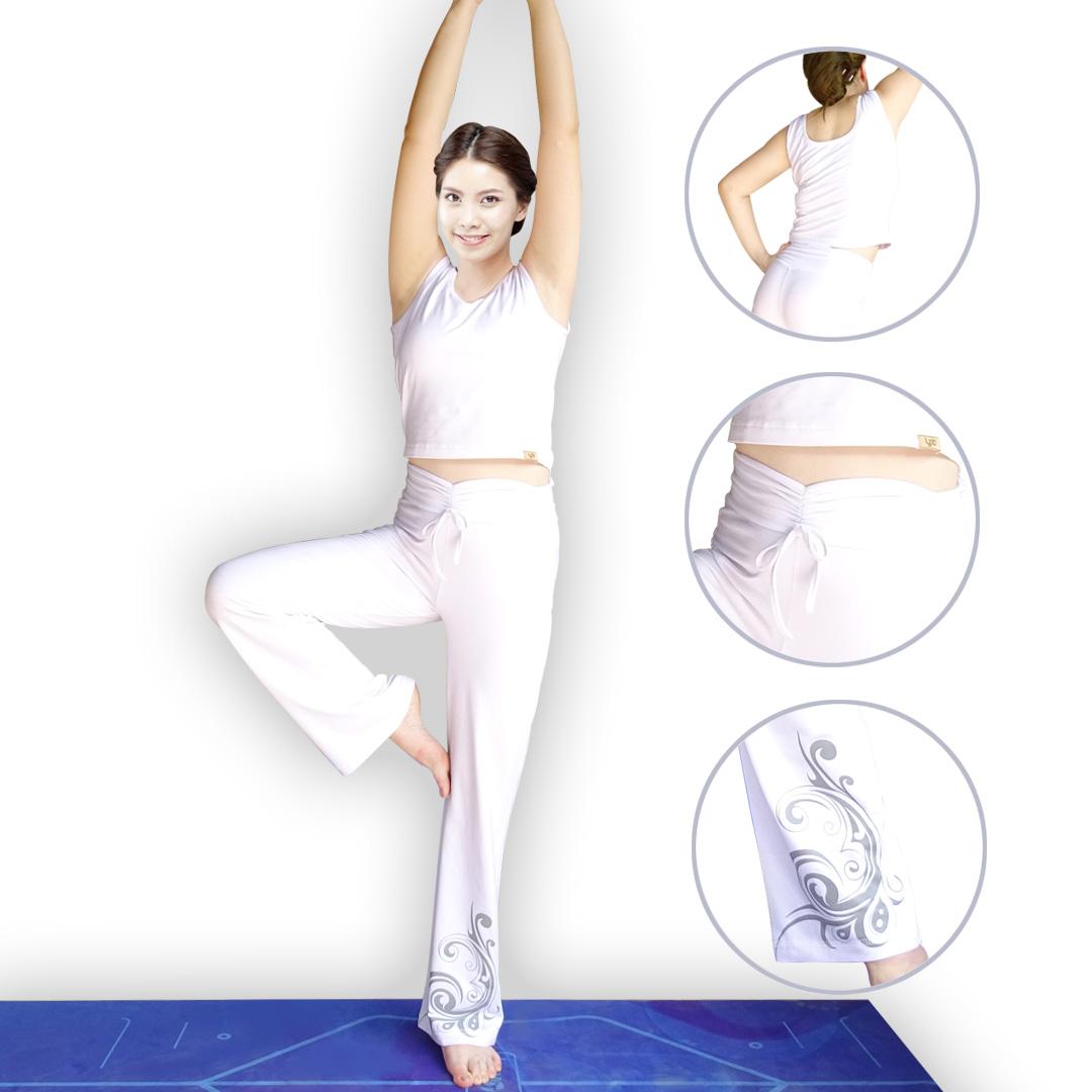 Bộ quần áo tập yoga Ba lỗ trắng hoa gấu Lynk`s Clothes