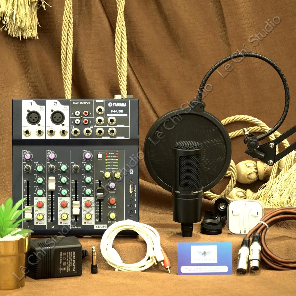 Combo Mic thu âm Audio Technica AT2020 + Mixer F4 Full phụ kiện - Giá 3.990k