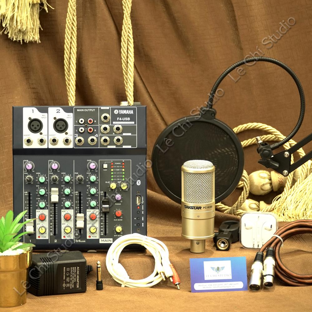 Combo Mic thu âm Takstar PC K200 + Mixer F4 Full phụ kiện - Giá 1.790k