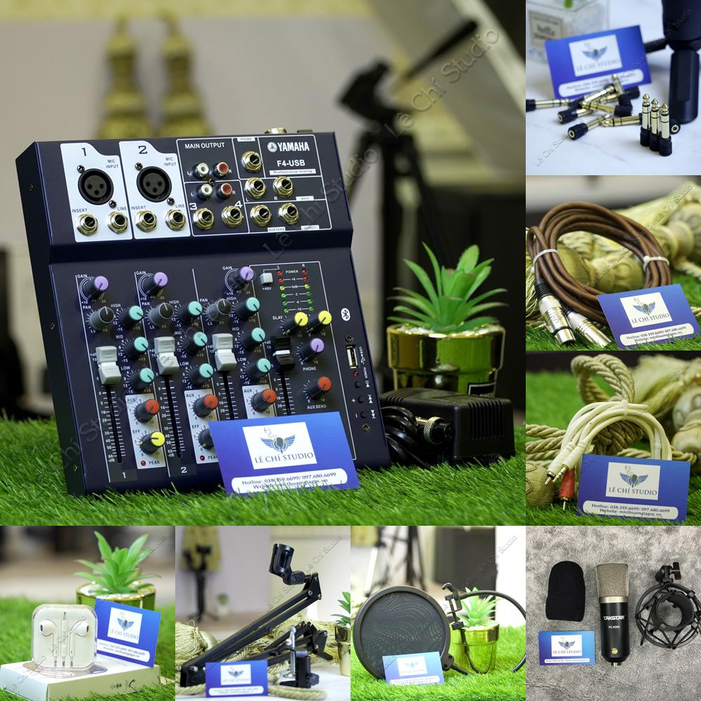 Combo Mic thu âm Takstar PC K500 + Mixer F4 Full phụ kiện - Giá 2.090k
