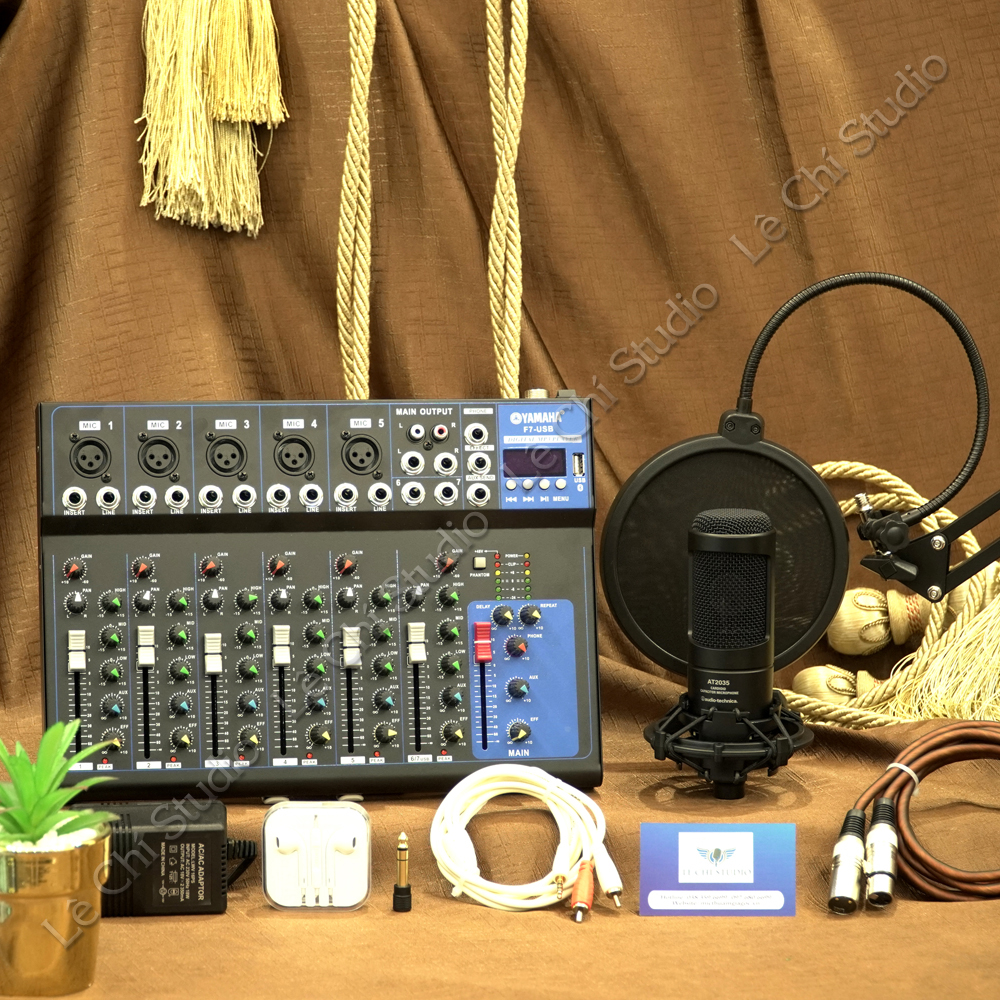 Combo Mic thu âm Audio Technica AT2035 + Mixer F7 Full phụ kiện - Giá 5.490k