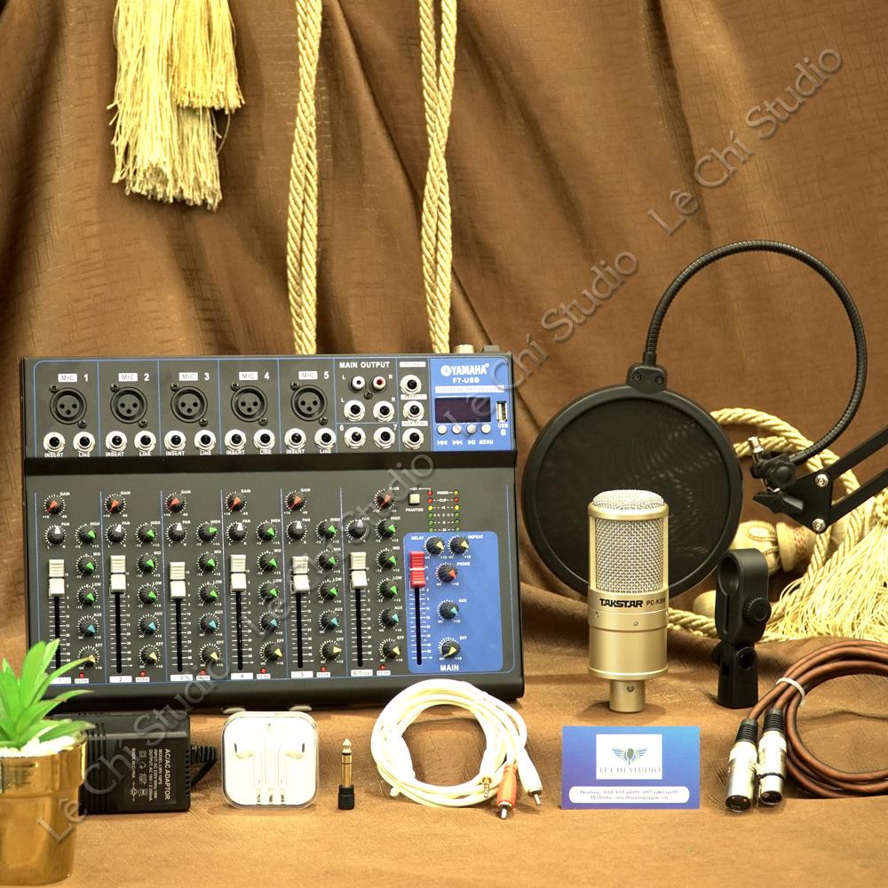 Combo Mic thu âm Takstar K200 + Mixer F7 Full phụ kiện - Giá 2.190k
