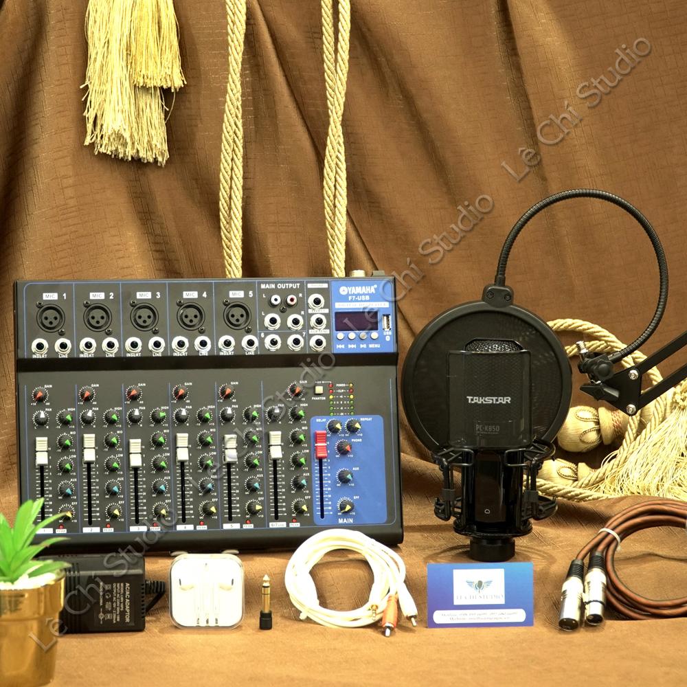 Combo Mic thu âm Takstar PC K850 + Mixer F7 Full phụ kiện - Giá 4.390k
