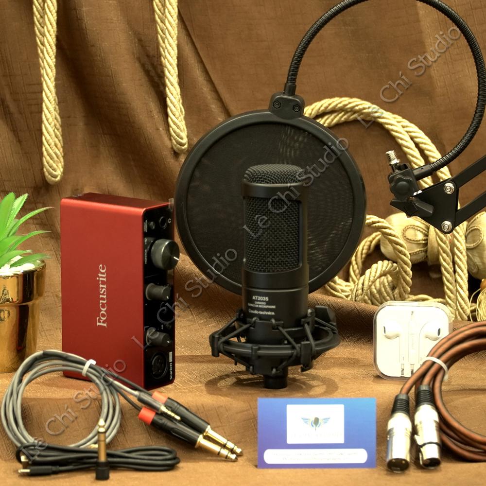 Combo Micro thu âm AT2035+ Soundcard Focusrite Solo Gen3 Full Phụ Kiện - Giá 7.290K