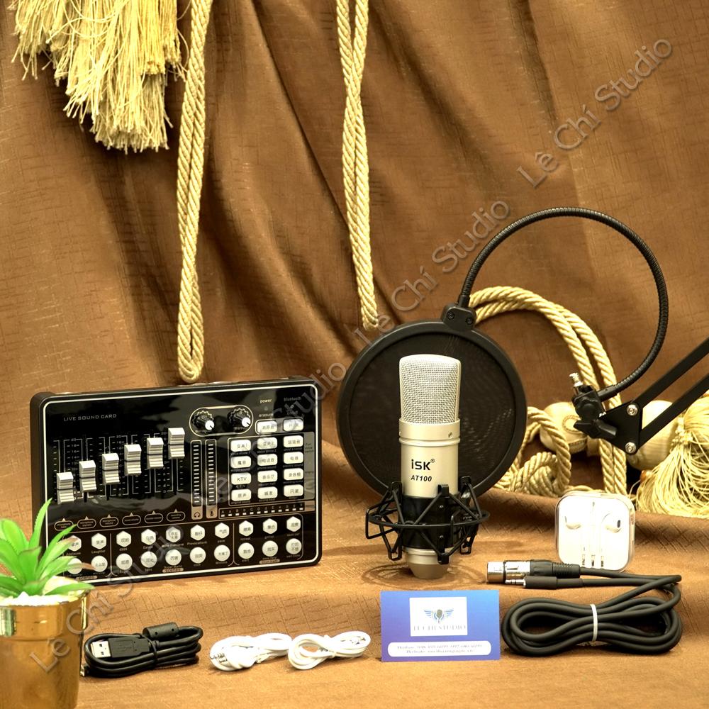 Combo Micro Thu Âm chính hãng ISK AT100 + Soundcard H9 Full Phụ Kiện - Giá 1.450K