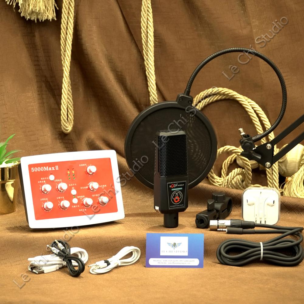 Combo Mic thu âm ALC280 + Soundcard HF5000 Full Phụ Kiện - Giá 2.190K