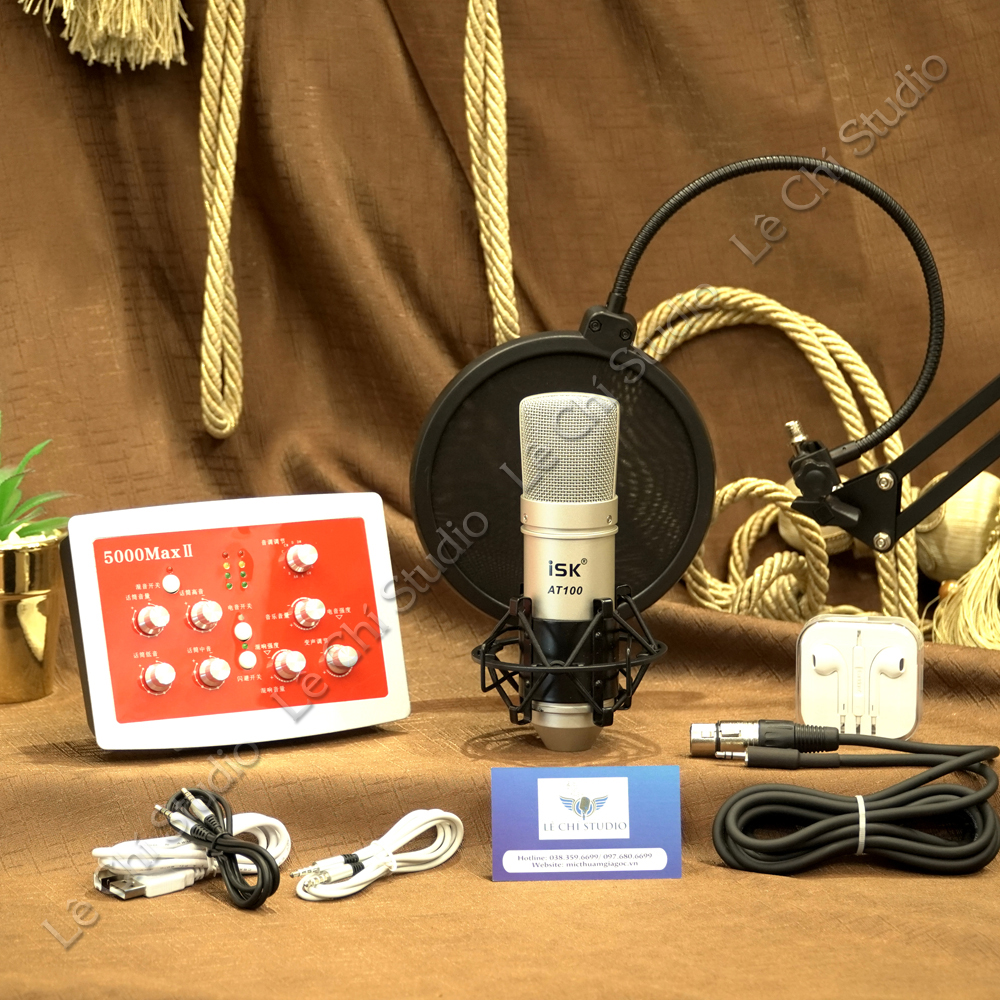 Combo Mic thu âm AT100 + Soundcard HF5000 Full Phụ Kiện - Giá 2.450K