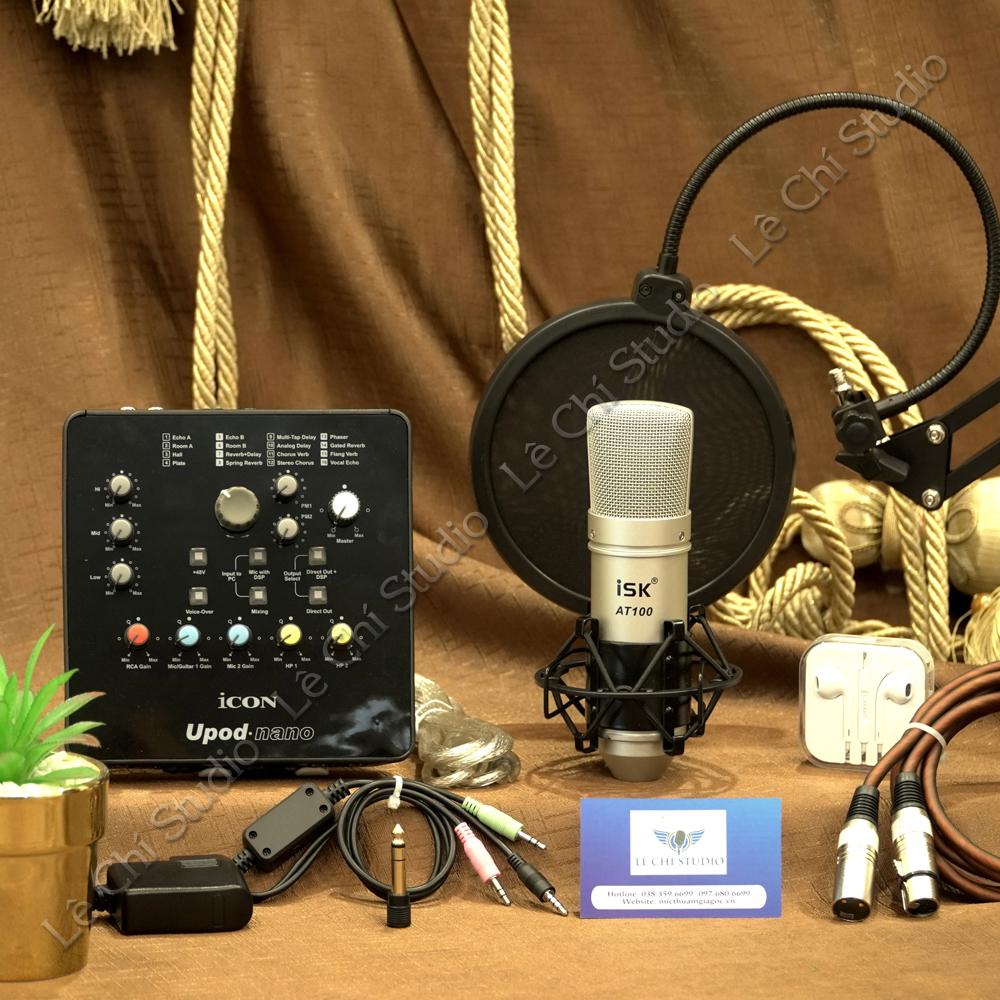 Combo Micro Thu Âm ISK AT100 + Soundcard Icon Upod Nano Full Phụ Kiện - Giá 2.650K