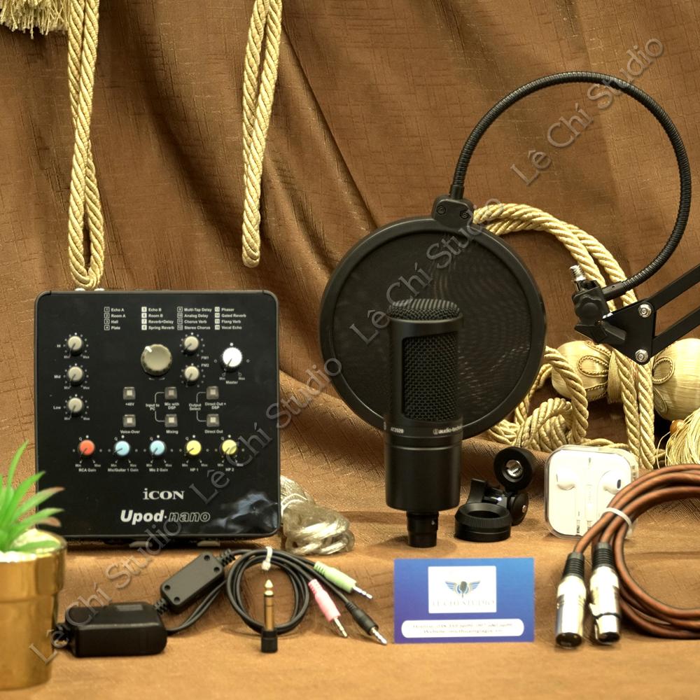 Combo Micro Thu Âm Audio Technica AT2020 + Soundcard Icon Upod Nano Full Phụ Kiện - Giá 4.790K