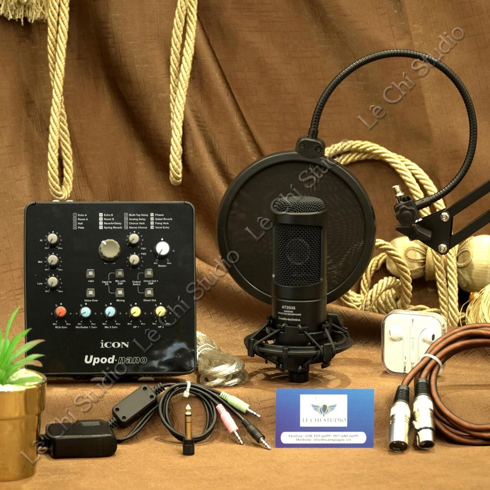 Combo Micro Thu Âm Audio Technica AT2035 + Soundcard Icon Upod Nano Full Phụ Kiện - Giá 6.090K