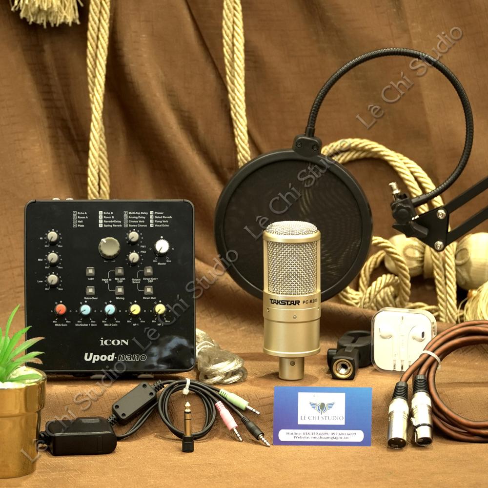 Combo Micro Thu Âm Takstar K200 + Soundcard Icon Upod Nano Full Phụ Kiện - Giá 2.690K