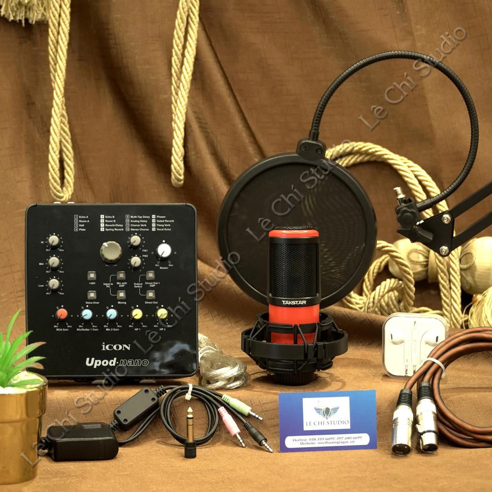 Combo Micro Thu Âm Takstar K320 + Soundcard Icon Upod Nano Full Phụ Kiện - Giá 2.890K