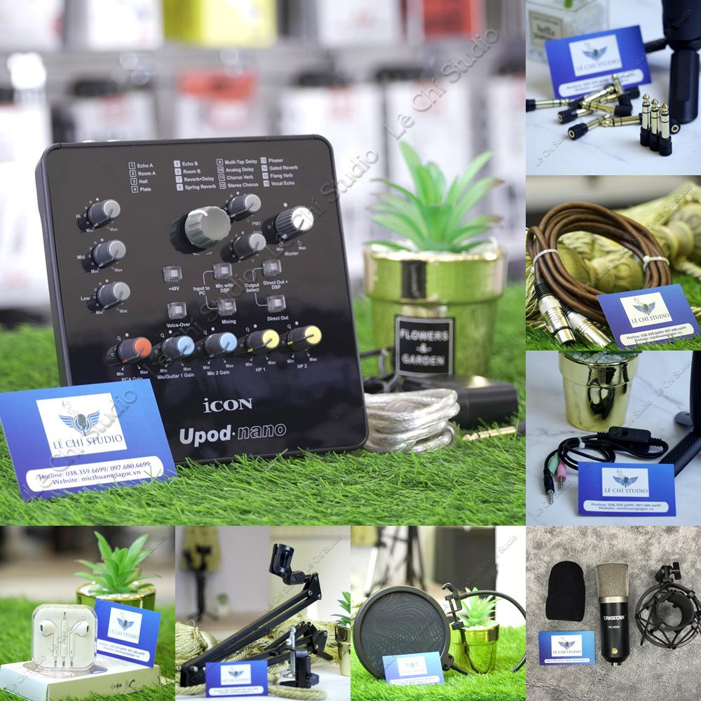 Combo Micro Thu Âm Takstar K500 + Soundcard Icon Upod Nano Full Phụ Kiện - Giá 3.090K