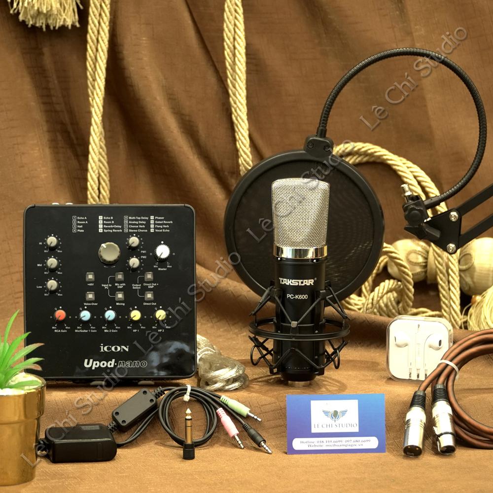 Combo Micro Thu Âm Takstar K600 + Soundcard Icon Upod Nano Full Phụ Kiện - Giá 3.590K