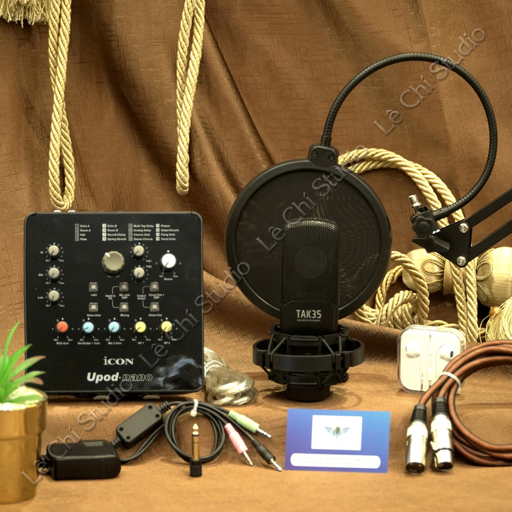 Combo Micro Thu Âm Takstar TAK35 + Soundcard Icon Upod Nano Full Phụ Kiện - Giá 3.590K