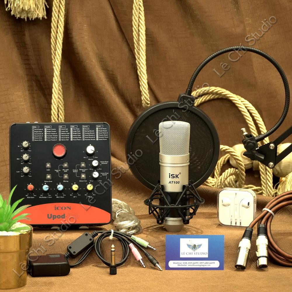 Combo Micro Thu Âm ISK AT100 + Soundcard Icon Upod Pro Full Phụ Kiện - Giá 2.750K