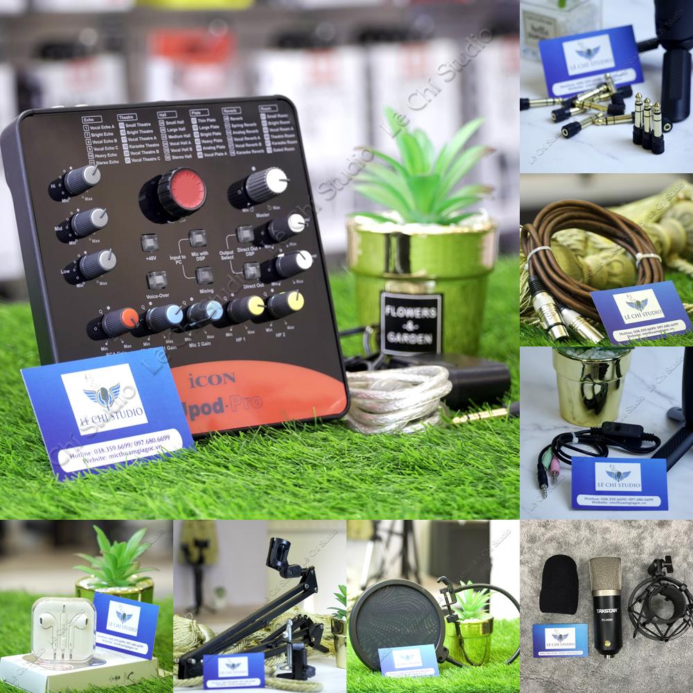 Combo Micro Thu Âm Takstar PC K500 + Soundcard Icon Upod Pro Full Phụ Kiện - Giá 3.190K