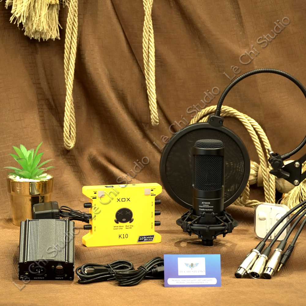 Combo Micro Thu Âm AT2035 + Soundcard XOX K10 2020Full Phụ Kiện - Giá 5.490k