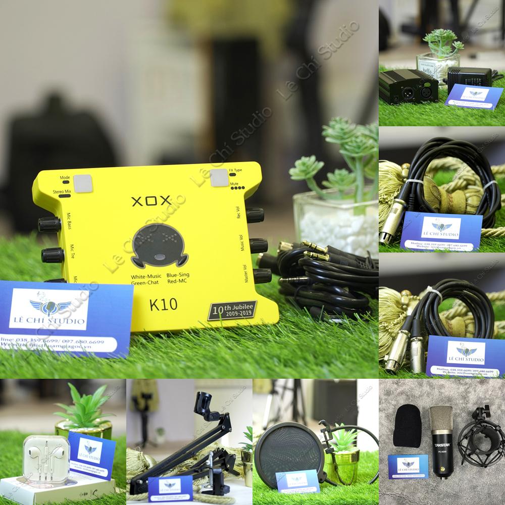 Combo Micro Thu Âm Takstar PC K500 + Soundcard XOX K10 2020Full Phụ Kiện - Giá 2.590k