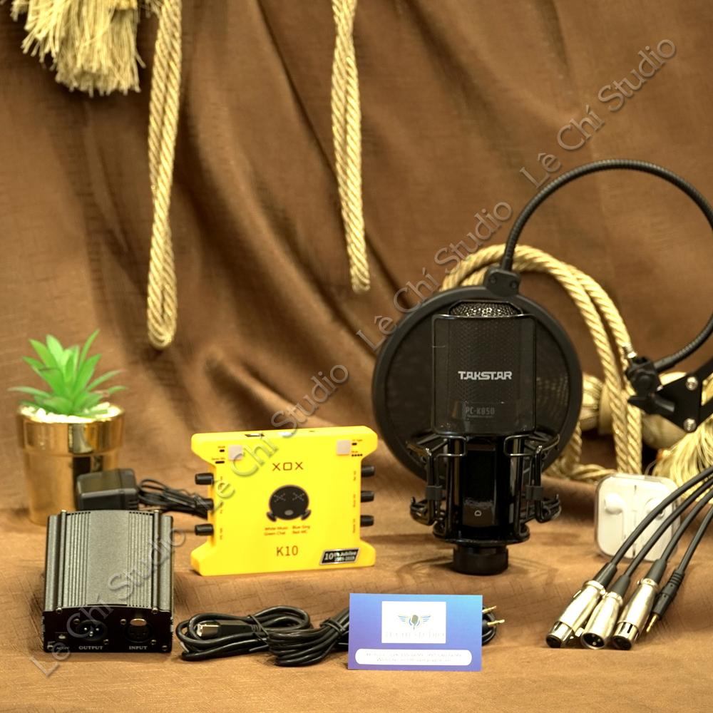 Combo Micro Thu Âm Takstar PC K850 + Soundcard XOX K10 2020Full Phụ Kiện - Giá 4.390k