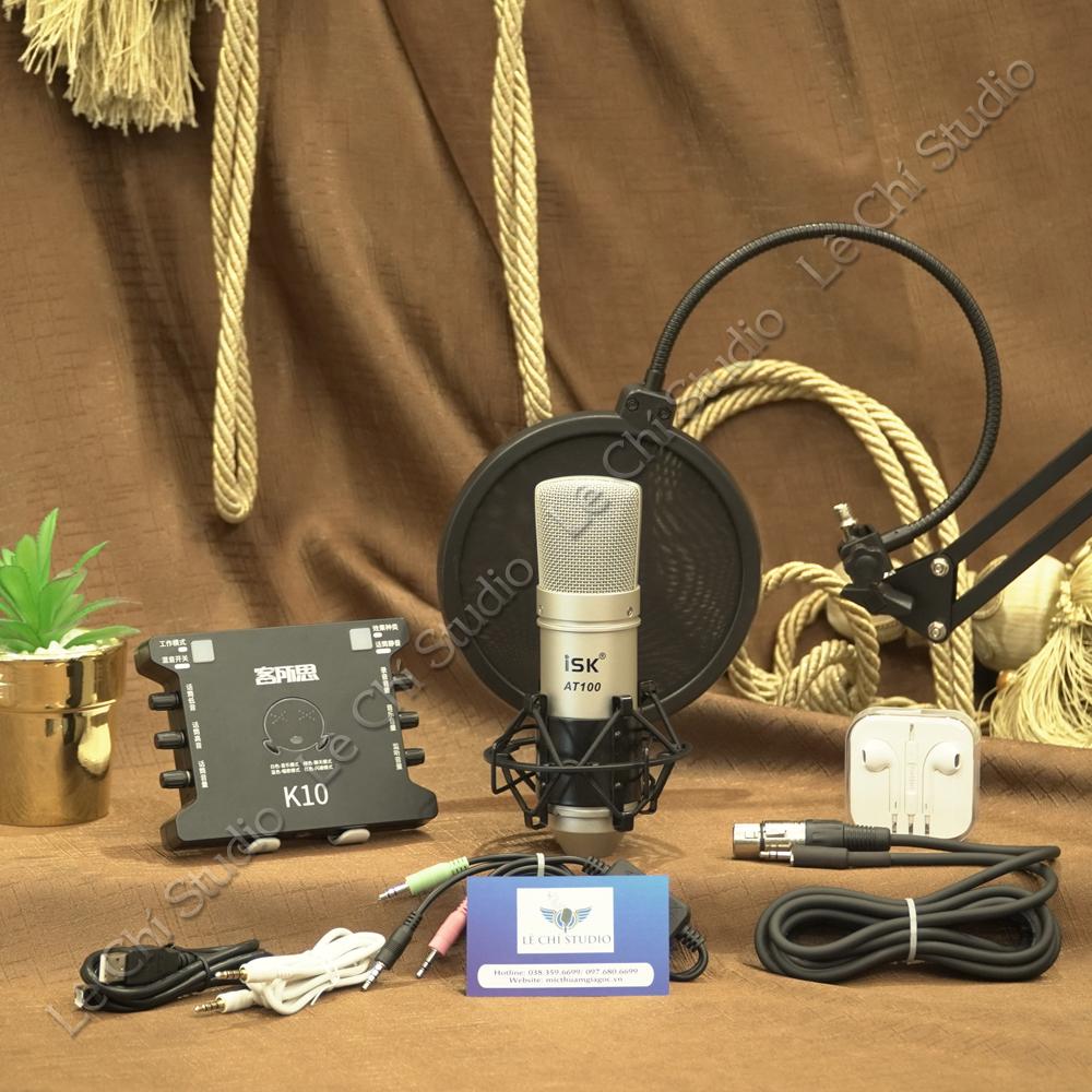 Combo Mic thu âm ISK AT100 + Soundcard XOX K10 FULL Phụ Kiện - Giá 1.950k