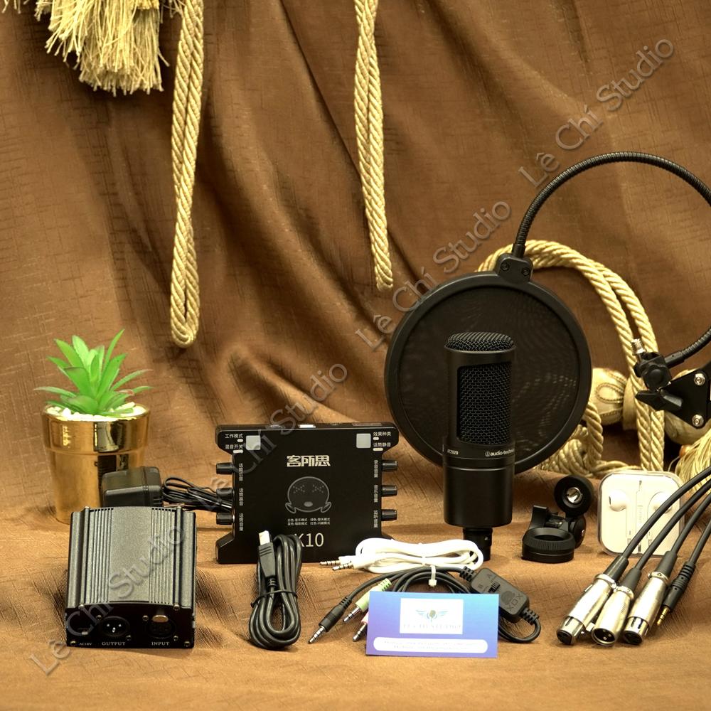 Combo Micro Thu Âm Audio Technica AT2020 + Soundcard XOX K10 Full Phụ Kiện - Giá 4.390k