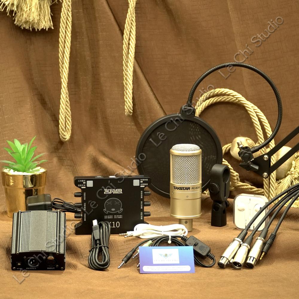 Combo Micro Thu Âm Takstar PC K200 + Soundcard K10 Full Phụ Kiện - Giá 2.090K
