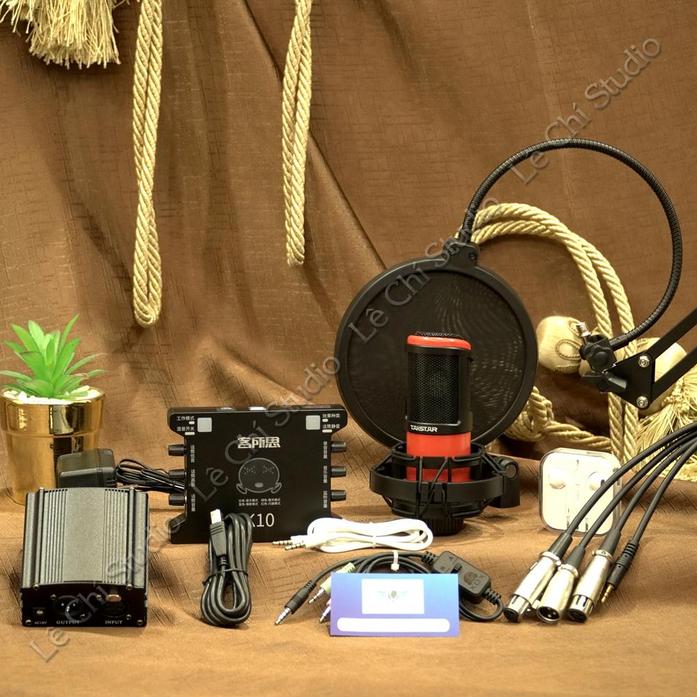 Combo Micro Thu Âm Takstar PC K320 + Soundcard XOX K10Full Phụ Kiện - Giá 2.390k