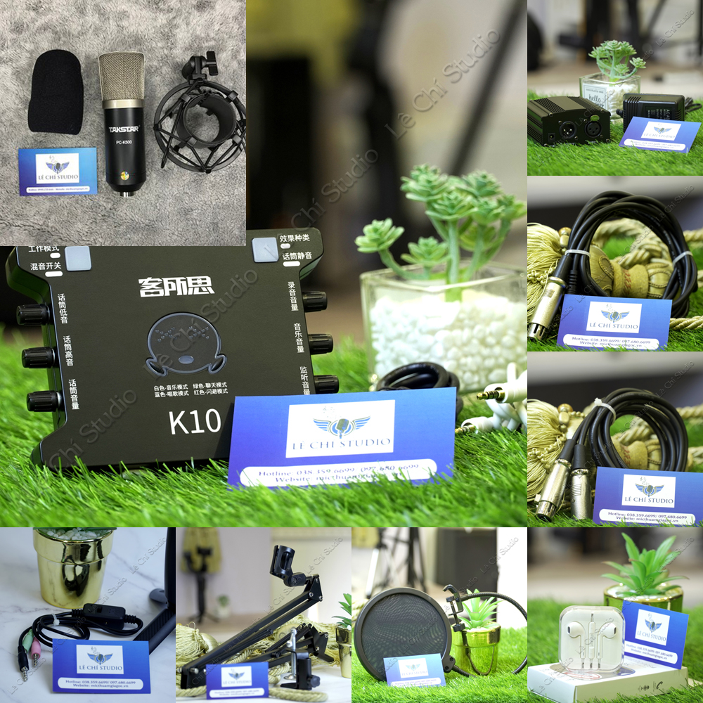 Combo MicroThu Âm Takstar PC K500 + Soundcard XOX K10Full Phụ Kiện - Giá 2.590k