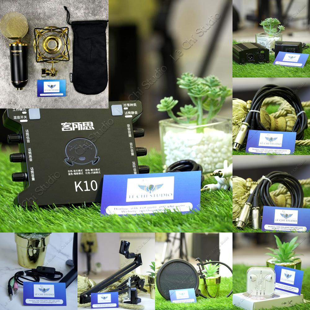 Combo Micro Thu Âm Takstar PC K820 + Soundcard XOX K10Full Phụ Kiện - Giá 4.090k
