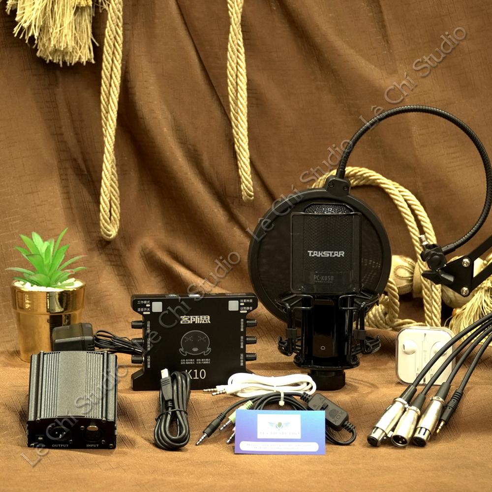 Combo Micro Thu Âm Takstar PC K850 + Soundcard XOX K10Full Phụ Kiện - Giá 4.390k