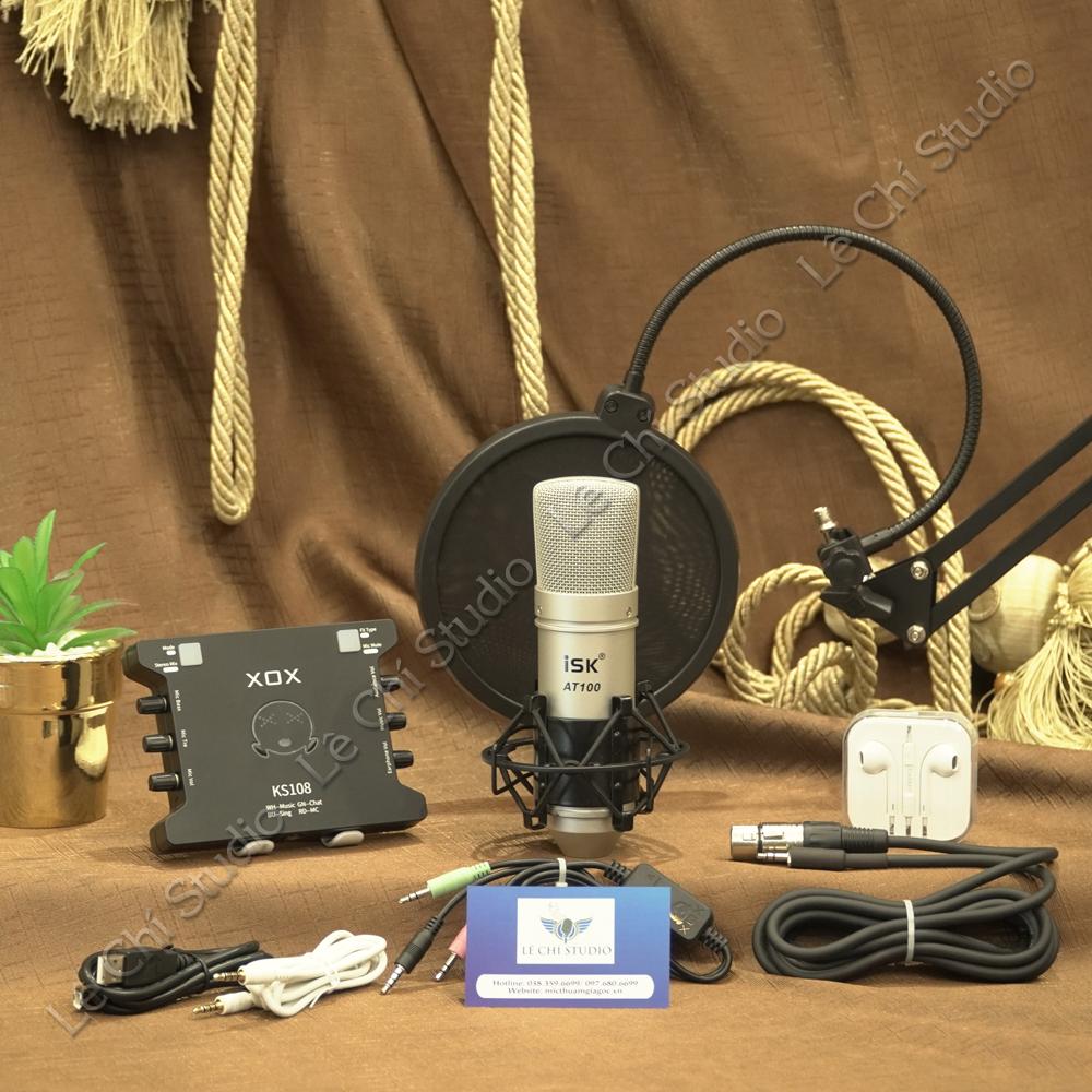 Combo Micro Thu Âm AT100 + Soundcard XOX KS108 Full Phụ Kiện - Giá 1.850K