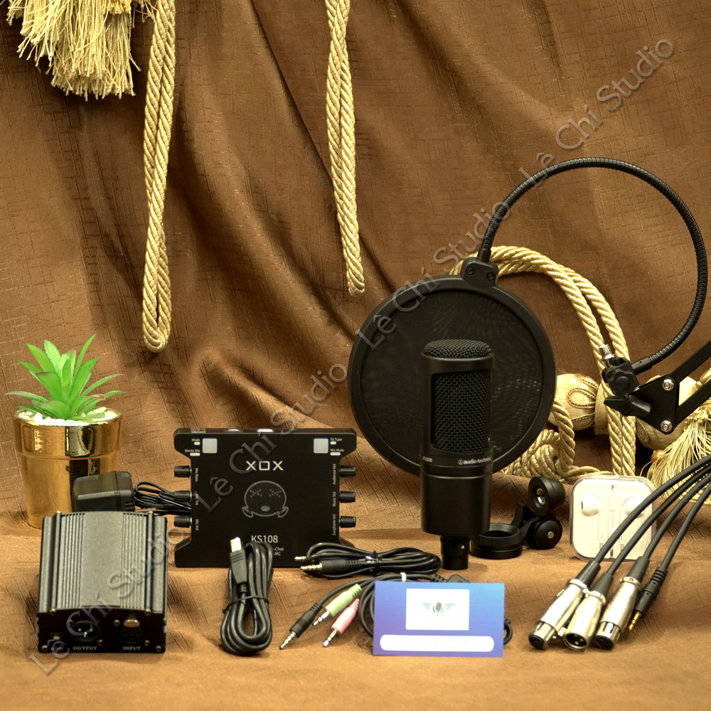 Combo Micro Thu Âm Audio Technica AT2020 + Soundcard XOX KS108 Full Phụ Kiện - Giá 4.390K