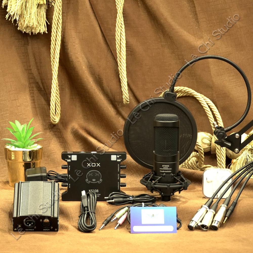 Combo Micro Thu Âm Audio Technica AT2035 + Soundcard XOX KS108 Full Phụ Kiện - Giá 5.490K