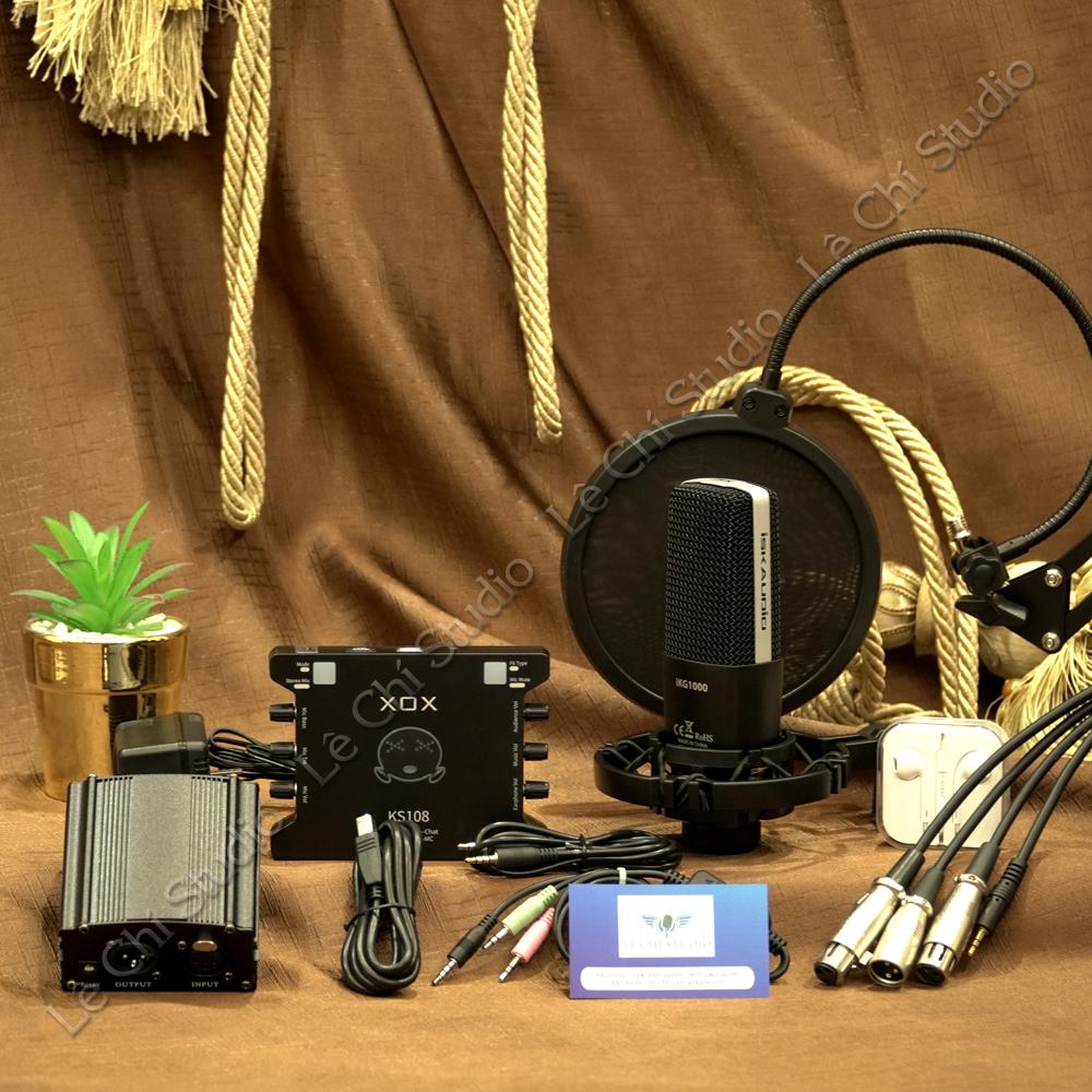 Combo Micro Thu Âm ISK IKG1000 + Soundcard XOX KS108 Full Phụ Kiện - Giá 3.290K