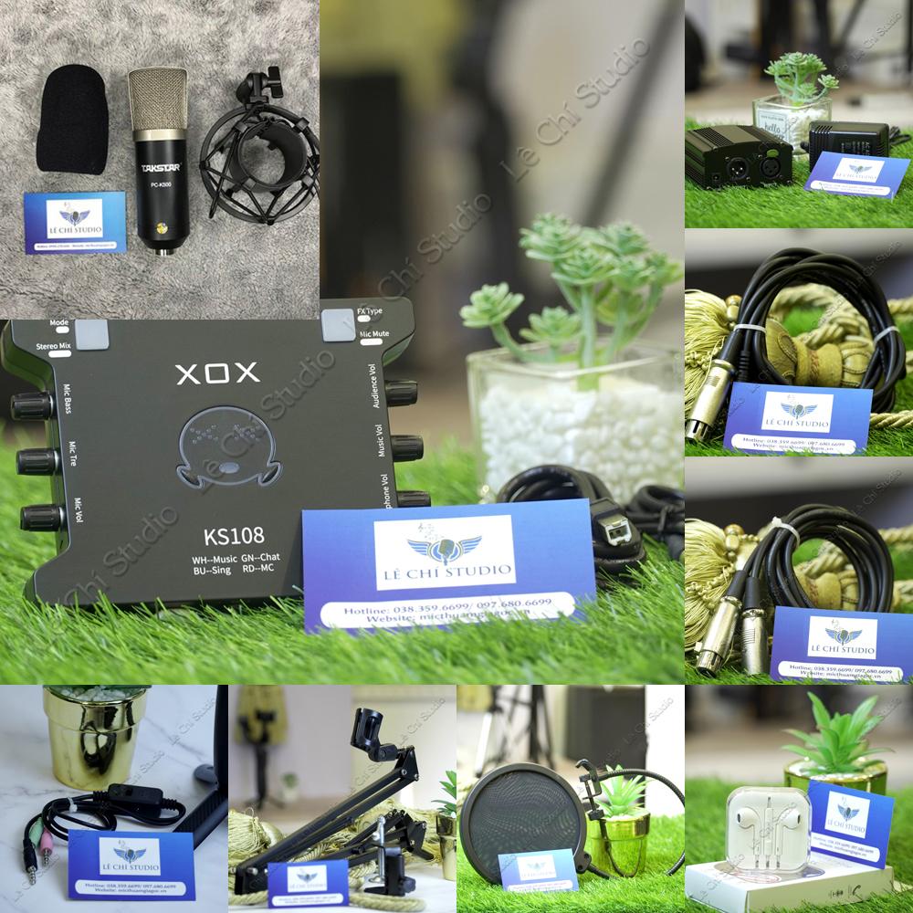 Combo Micro Thu Âm Takstar PC K500 + Soundcard XOX KS108 Full Phụ Kiện - Giá 2.590K