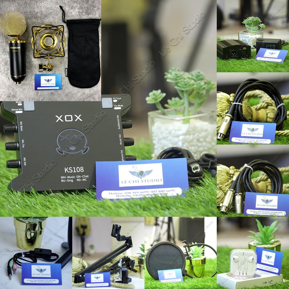 Combo Micro Thu Âm Takstar PC K820 + Soundcard XOX KS108 Full Phụ Kiện - Giá 4.090K