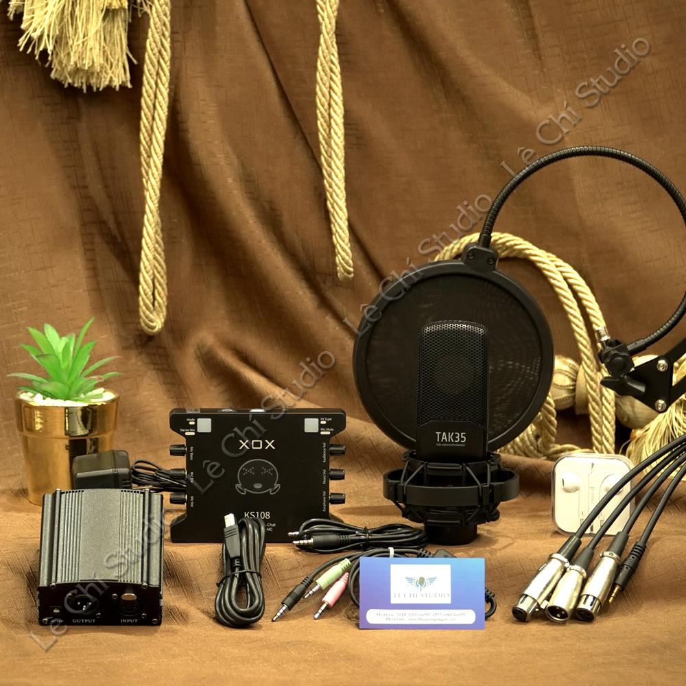 Combo Micro Thu Âm Takstar TAK35 + Soundcard XOX KS108 Full Phụ Kiện - Giá 3.190K