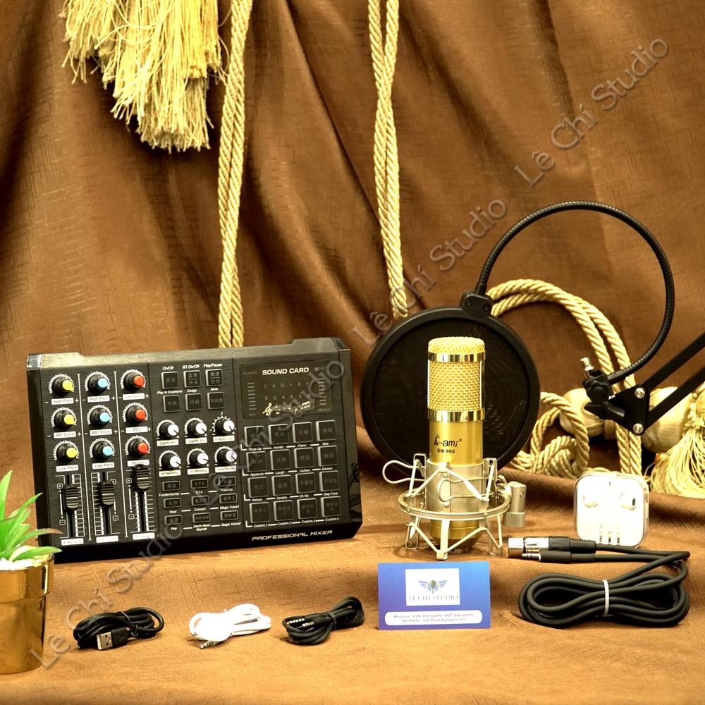 Combo Micro Thu Âm Ami Bm900 + Soundcard S8 Full Phụ Kiện - Giá 1.390K
