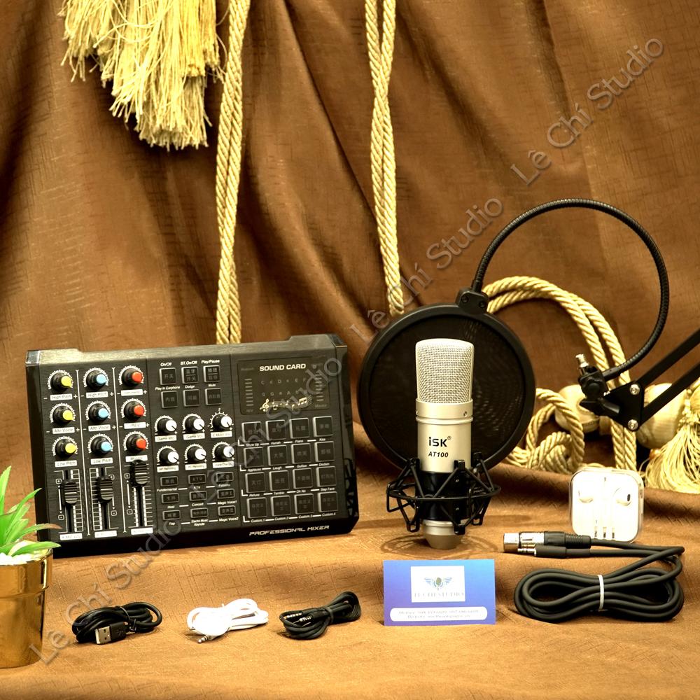 Combo Micro Thu Âm AT100 + Soundcard S8 Full Phụ Kiện - Giá 1.490K
