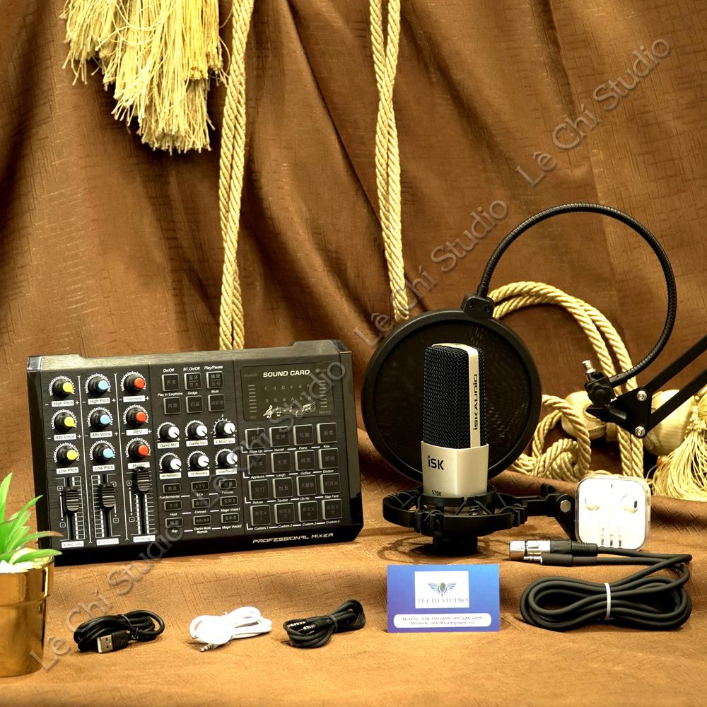 Combo Micro Thu Âm ISK S700 + Soundcard S8 Full Phụ Kiện - Giá 2.190K