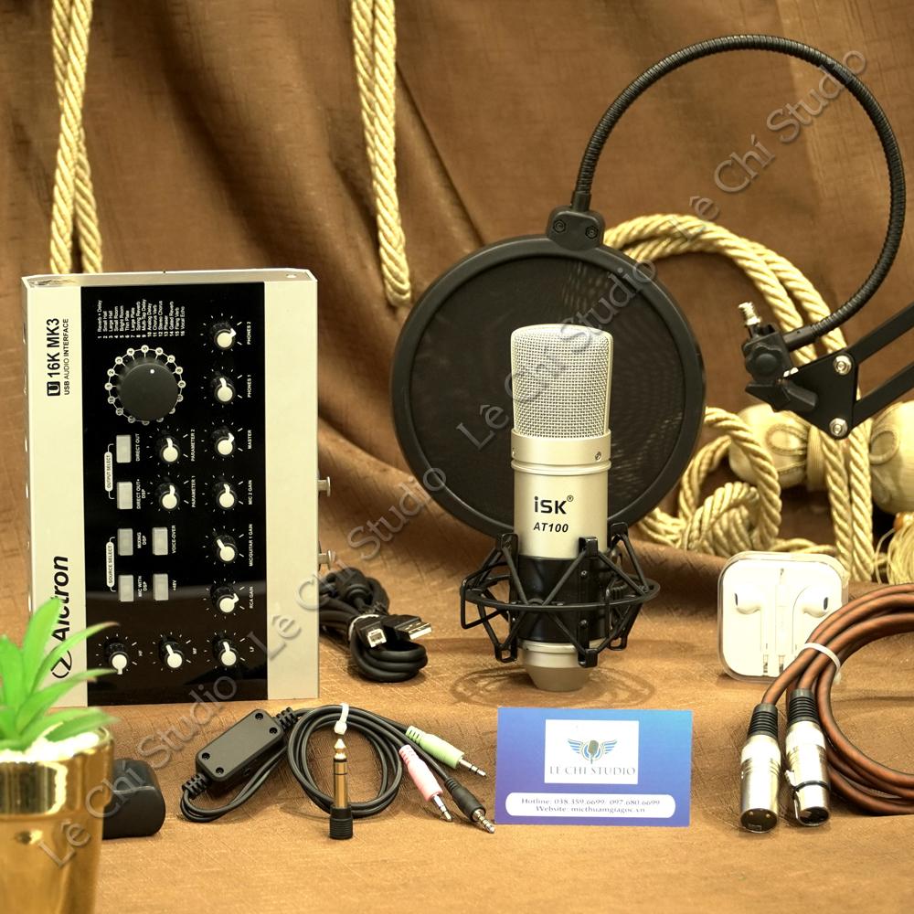 Combo Micro Thu Âm ISK AT100 + Soundcard U16K MK3 Full Phụ Kiện - Giá 3.550K