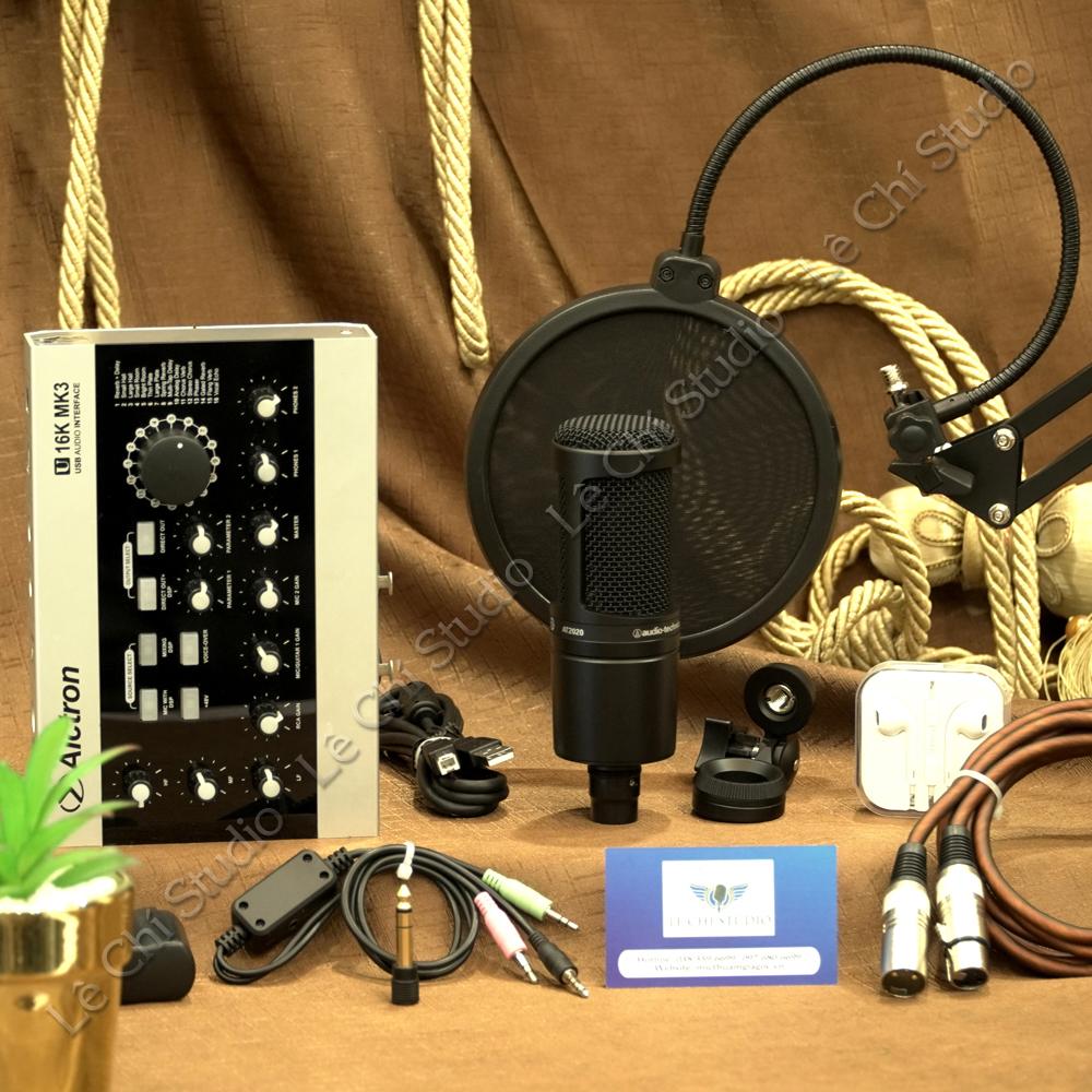 Combo Micro Thu Âm Audio Technica AT2020 + Soundcard U16K MK3 Full Phụ Kiện - Giá 5.690K