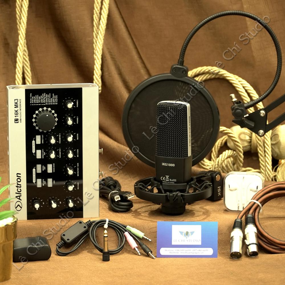Combo Micro Thu Âm ISK IKG1000 + Soundcard U16K MK3 Full Phụ Kiện - Giá 4.690K