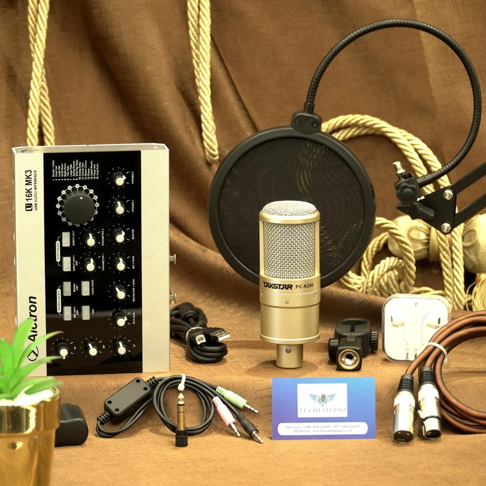 Combo Micro Thu Âm Takstar PC K200 + Soundcard U16K MK3 Full Phụ Kiện - Giá 3.590K