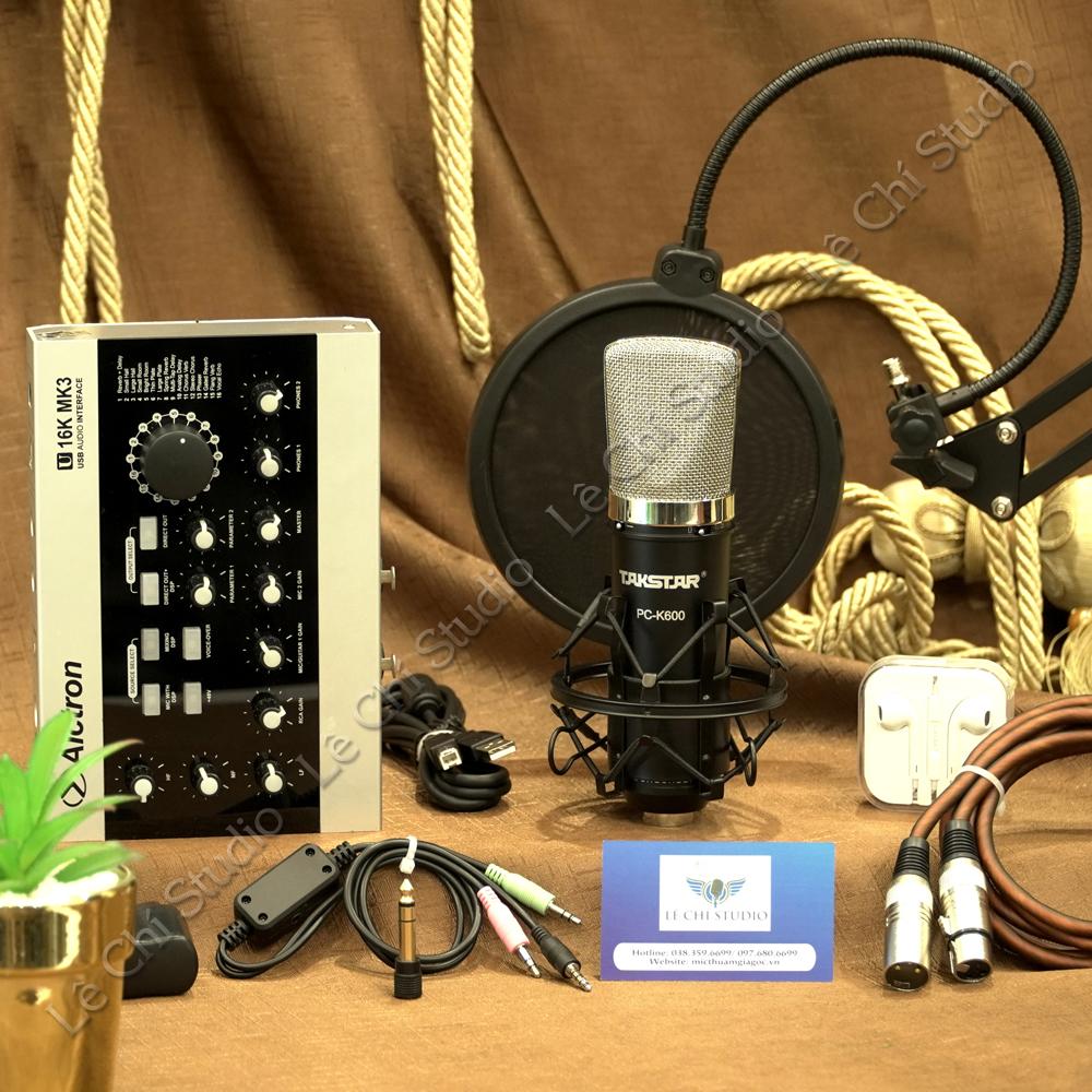 Combo Micro Thu Âm Takstar PC K600 + Soundcard U16K MK3 Full Phụ Kiện - Giá 4.590K