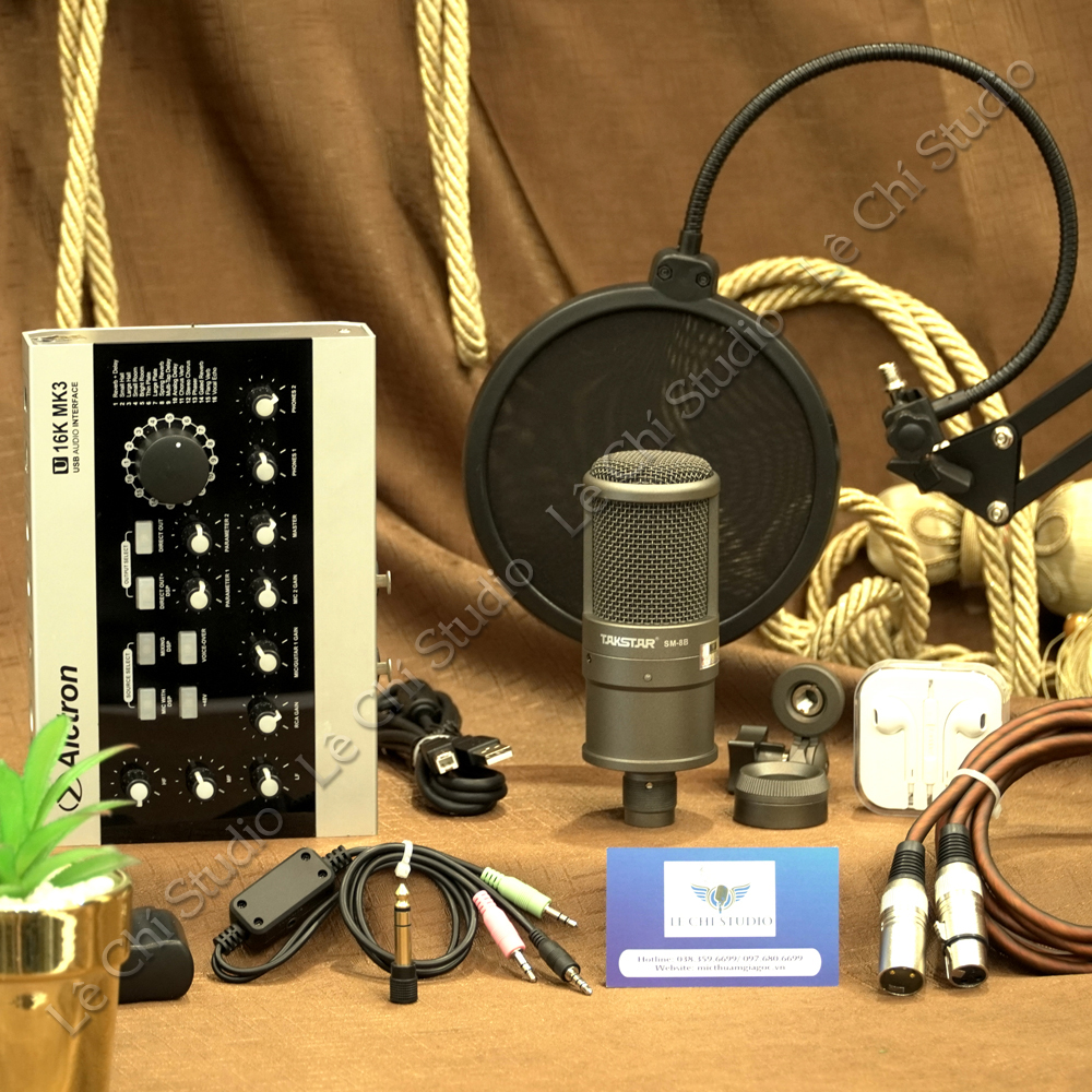 Combo Micro Thu Âm Takstar SM8B + Soundcard U16K MK3 Full Phụ Kiện - Giá 3.690K