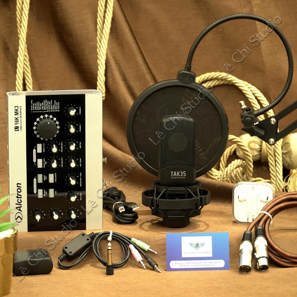 Combo Micro Thu Âm Takstar TAK35 + Soundcard U16K MK3 Full Phụ Kiện - Giá 4.590K